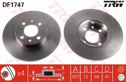 Тормозной диск на LANCIA Y 'TRW DF1747'.