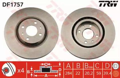 Вентилируемый тормозной диск на FIAT MULTIPLA 'TRW DF1757'.