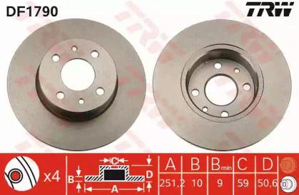 Тормозной диск на Фиат Линеа 'TRW DF1790'.
