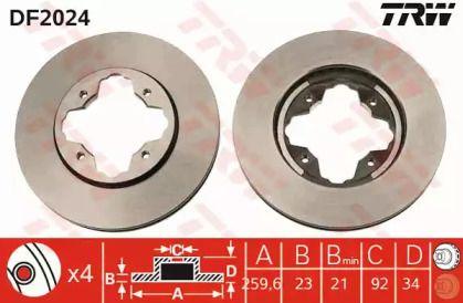 Вентилируемый тормозной диск на Ровер 600 'TRW DF2024'.
