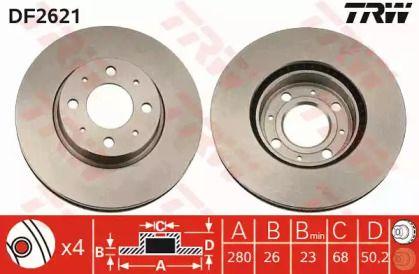 Вентилируемый тормозной диск на VOLVO 850 'TRW DF2621'.