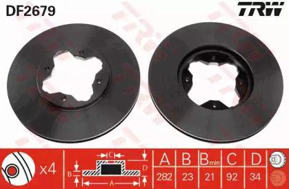 Вентилируемый тормозной диск на ROVER 600 'TRW DF2679'.