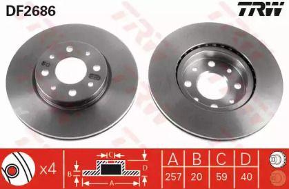 Вентилируемый тормозной диск на Фиат Страда 'TRW DF2686'.