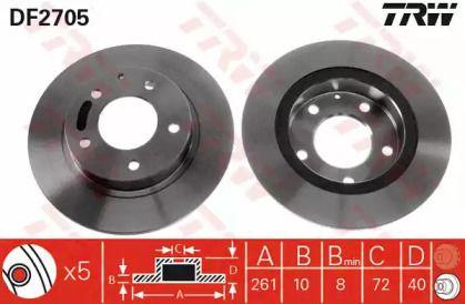 Тормозной диск на Форд Проба 'TRW DF2705'.