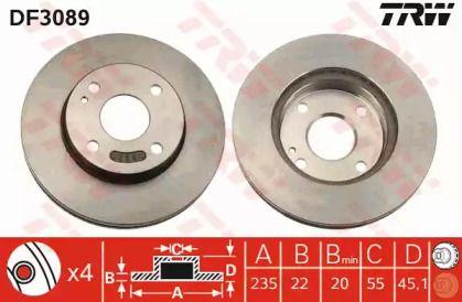 Вентильований гальмівний диск на Мазда Деміо TRW DF3089.