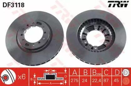 Вентилируемый тормозной диск на MITSUBISHI GALLOPER 'TRW DF3118'.