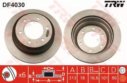 Вентилируемый тормозной диск на Опель Фронтера 'TRW DF4030'.