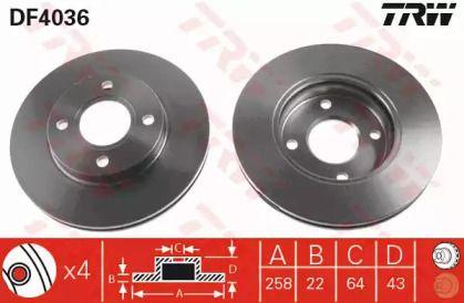 Вентилируемый тормозной диск на Форд Фьюжн 'TRW DF4036'.