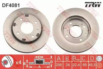 Вентилируемый тормозной диск на MITSUBISHI SANTAMO 'TRW DF4081'.