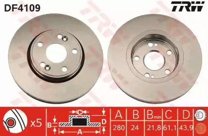 Вентилируемый тормозной диск на Рено Эспейс 'TRW DF4109'.