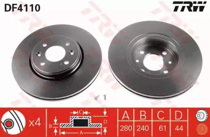 Вентилируемый тормозной диск на Дача Докер 'TRW DF4110'.