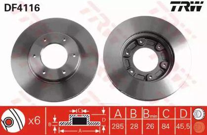 Вентилируемый тормозной диск на TOYOTA HIACE 'TRW DF4116'.