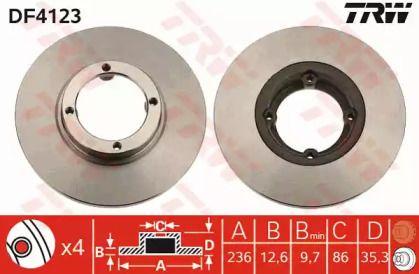 Тормозной диск на DAEWOO MATIZ 'TRW DF4123'.