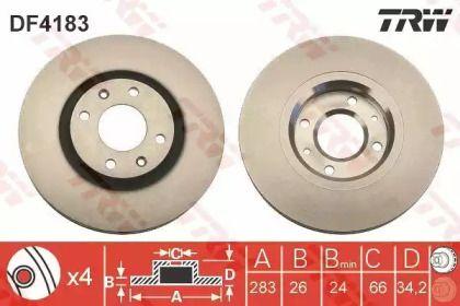 Вентилируемый тормозной диск на CITROEN DS5 'TRW DF4183'.