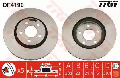 Вентилируемый тормозной диск на CHRYSLER PT CRUISER 'TRW DF4190'.