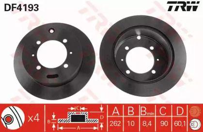Тормозной диск на Митсубиси Фто 'TRW DF4193'.