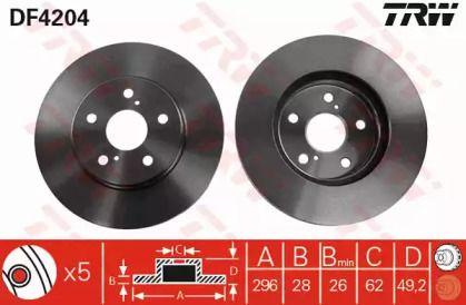 Вентилируемый тормозной диск на TOYOTA ALPHARD 'TRW DF4204'.