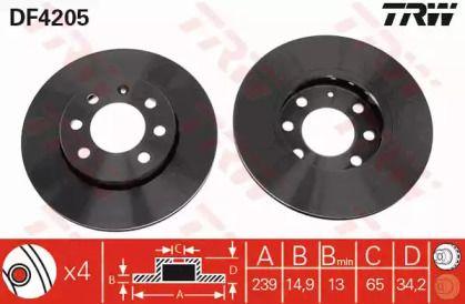 Вентилируемый тормозной диск 'TRW DF4205'.