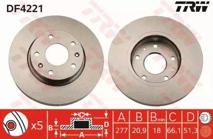 Вентилируемый тормозной диск на Фрилендер 'TRW DF4221'.