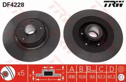 Тормозной диск на Рено Вель Сатис 'TRW DF4228'.