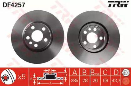 Вентилируемый тормозной диск на CITROEN C8 'TRW DF4257'.