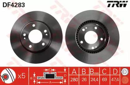 Вентилируемый тормозной диск на Хендай Тибурон 'TRW DF4283'.