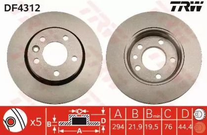 Вентилируемый тормозной диск на VOLKSWAGEN MULTIVAN 'TRW DF4312'.