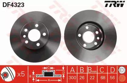 Вентилируемый тормозной диск на VOLKSWAGEN KOMBI 'TRW DF4323'.