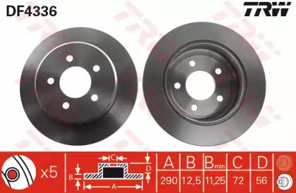 Тормозной диск на Додж Караван 'TRW DF4336'.