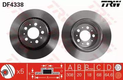 Вентилируемый тормозной диск на VOLVO XC90 'TRW DF4338'.