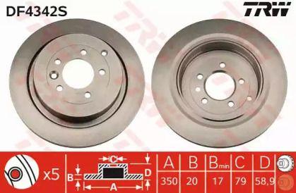 Вентилируемый тормозной диск на Рендж Ровер Спорт 'TRW DF4342S'.