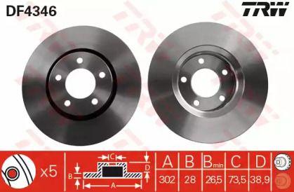 Вентилируемый тормозной диск на CHRYSLER VOYAGER 'TRW DF4346'.