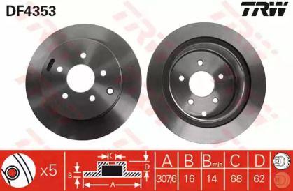 Вентилируемый тормозной диск на INFINITI QX50 'TRW DF4353'.