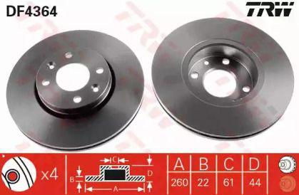 Вентилируемый тормозной диск на Ниссан Тиида 'TRW DF4364'.