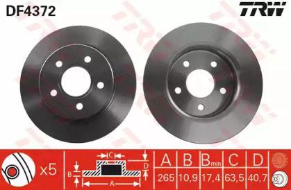 Тормозной диск на FORD C-MAX 'TRW DF4372'.