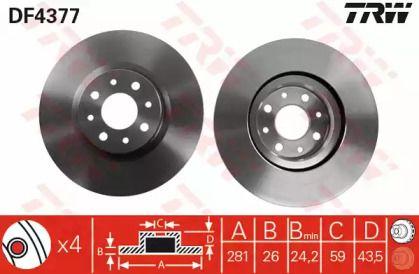 Вентилируемый тормозной диск на Альфа Ромео Мито 'TRW DF4377'.