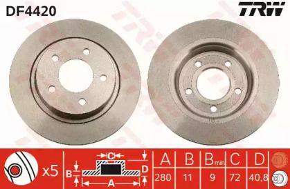 Тормозной диск на MAZDA PREMACY 'TRW DF4420'.
