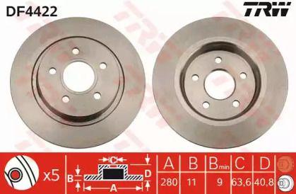 Тормозной диск на VOLVO C30 'TRW DF4422'.