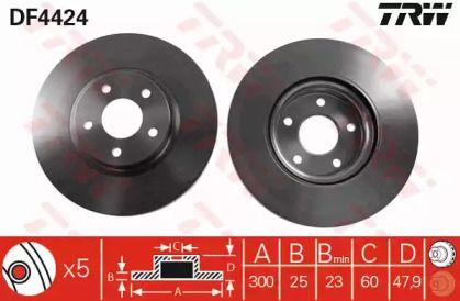 Вентилируемый тормозной диск на Форд Гранд С-макс 'TRW DF4424'.