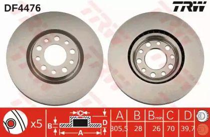 Вентилируемый тормозной диск на ALFA ROMEO BRERA 'TRW DF4476'.