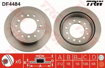 Вентилируемый тормозной диск на TOYOTA FJ CRUISER 'TRW DF4484'.