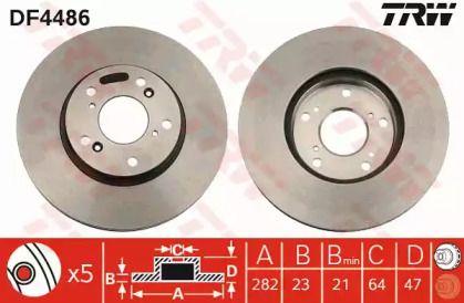 Вентилируемый тормозной диск на HONDA FR-V 'TRW DF4486'.