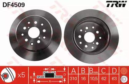 Тормозной диск на TOYOTA ALTEZZA 'TRW DF4509'.
