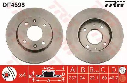 Вентилируемый тормозной диск на HYUNDAI MATRIX 'TRW DF4698'.