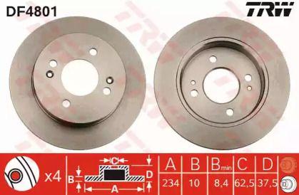 Тормозной диск на Хендай Ай10 'TRW DF4801'.