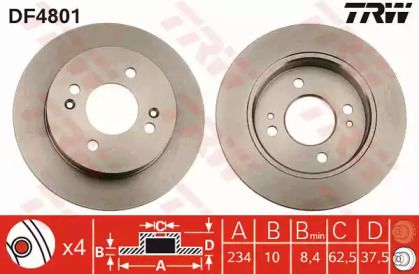 Тормозной диск на KIA PICANTO 'TRW DF4801'.