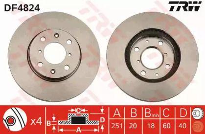 Вентилируемый тормозной диск на Сузуки Сплэш 'TRW DF4824'.