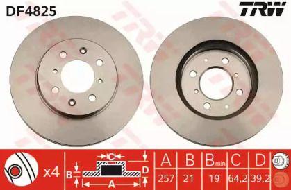 Вентилируемый тормозной диск на Хонда Ситиго 'TRW DF4825'.