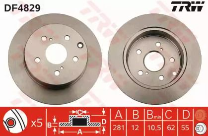 Тормозной диск на LEXUS HS 'TRW DF4829'.