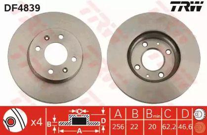 Вентилируемый тормозной диск на Киа Рио 'TRW DF4839'.